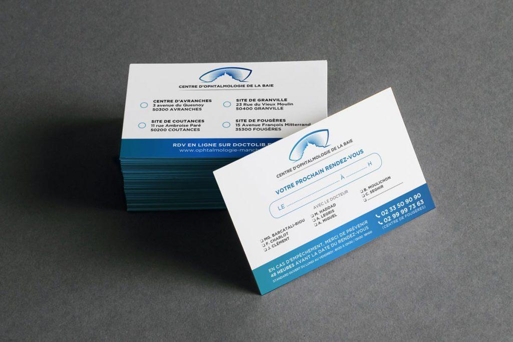 Cartes de RDV (10x15) - Centre d'Ophtalmologie de la Baie