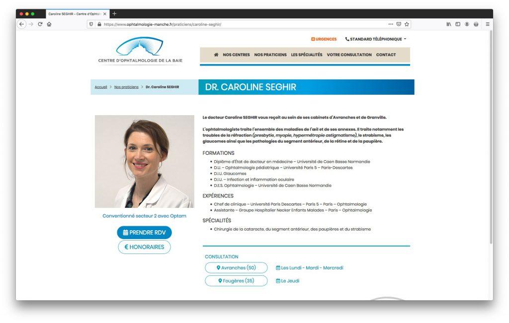 Fiche médecin - Site Internet