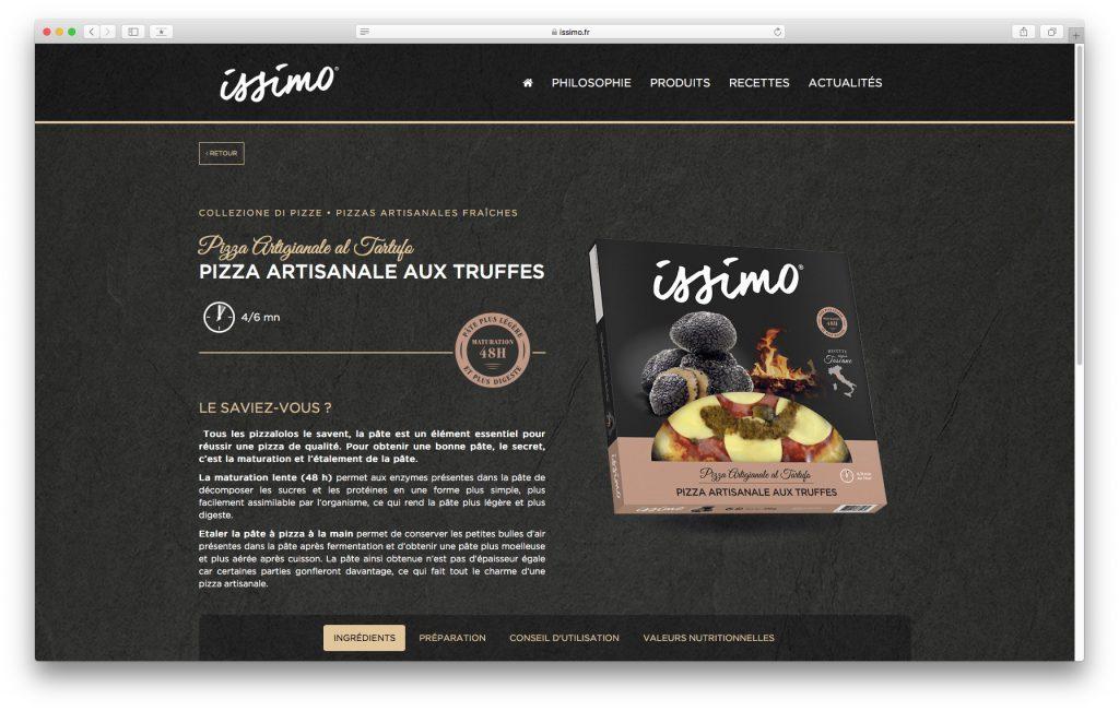 Fiche produit Pizza sur le site internet